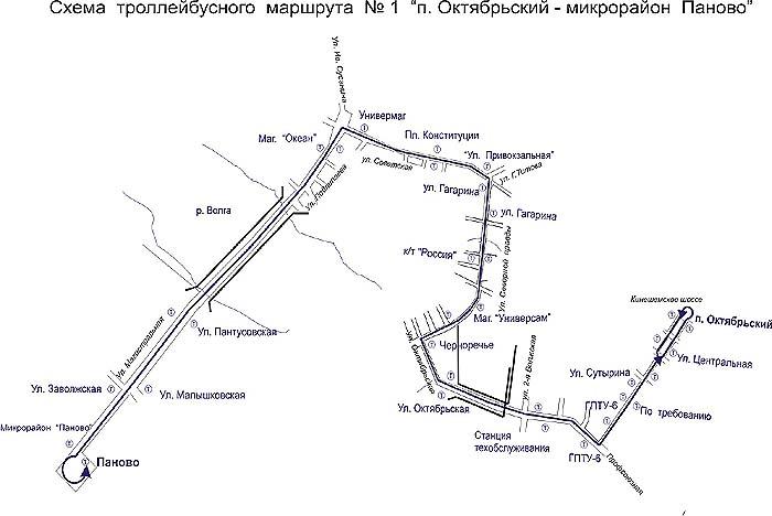 Схема маршрута троллейбуса № 1.